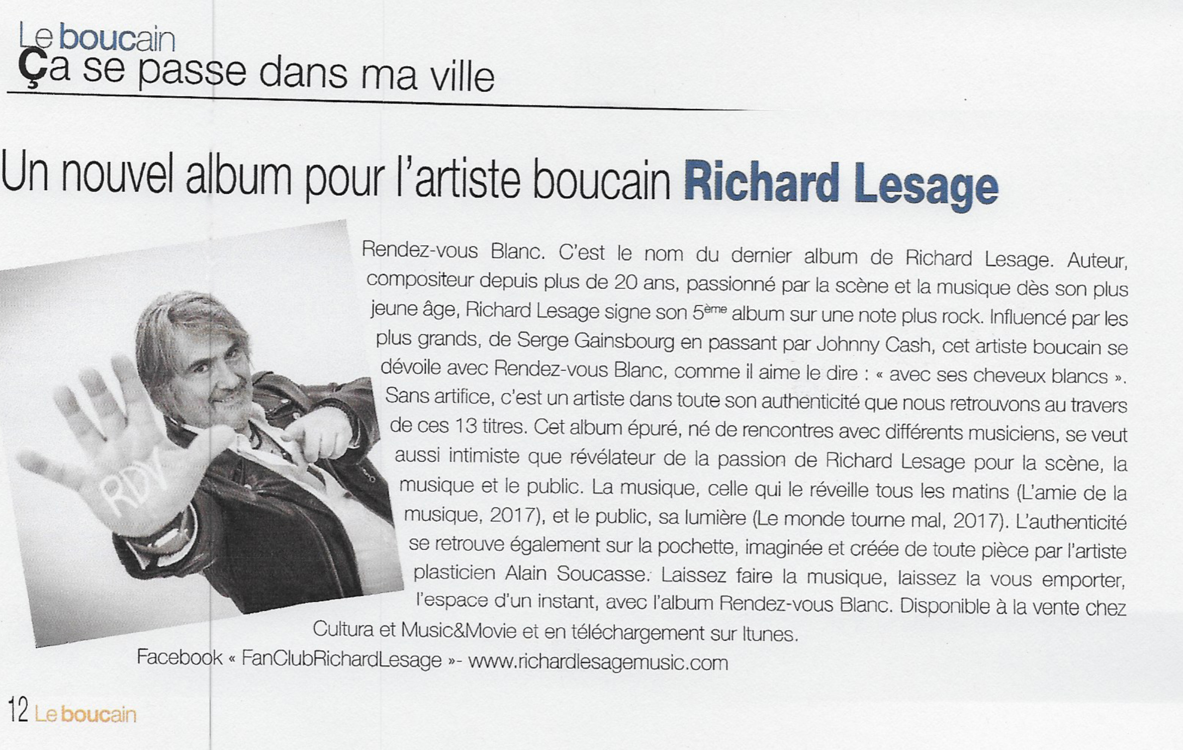 Parution Richard lesage le boucain 2017 bouc bel air